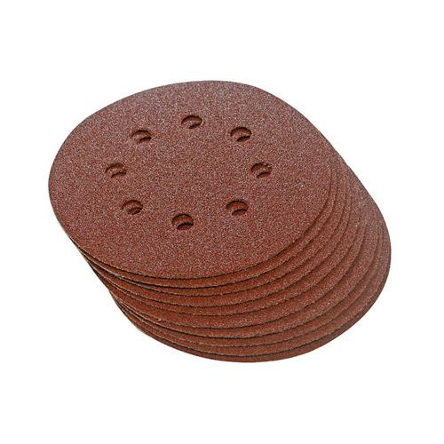 Sanding Hook & Loop Discs, Punched 125 mm, 10pcs - 240 grit