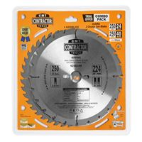 CMT Contractor Set of Saw Blades for Wood Cutting - D250x2,6 d30 Z24+Z40 HW, 2pcs