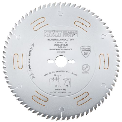 CMT CHROME Universal Saw Blade - D350x3,5 d30 Z108 HW Low Noise, Fine Crosscuts