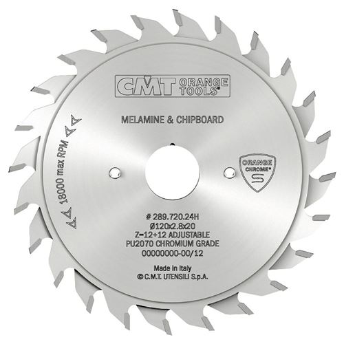 CMT CHROME Adjustable Scoring Blade - D120x2,8-3,6 d20 Z12+12 HW