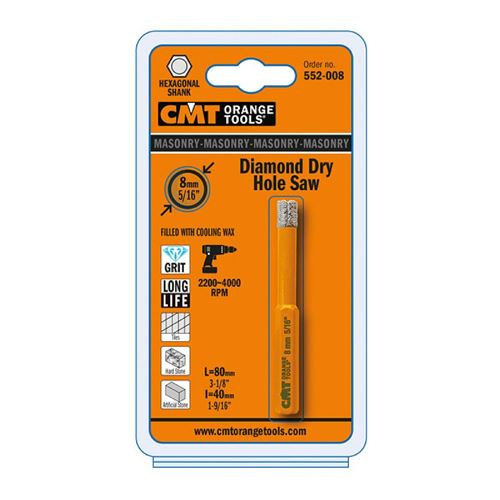 CMT C552 FASTX4 Diamond Dry Drill Bit with cooling wax - D10x40 L80