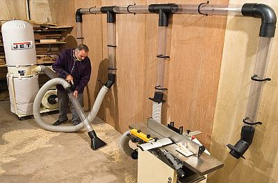 How to connect more machines to a single dust extractor